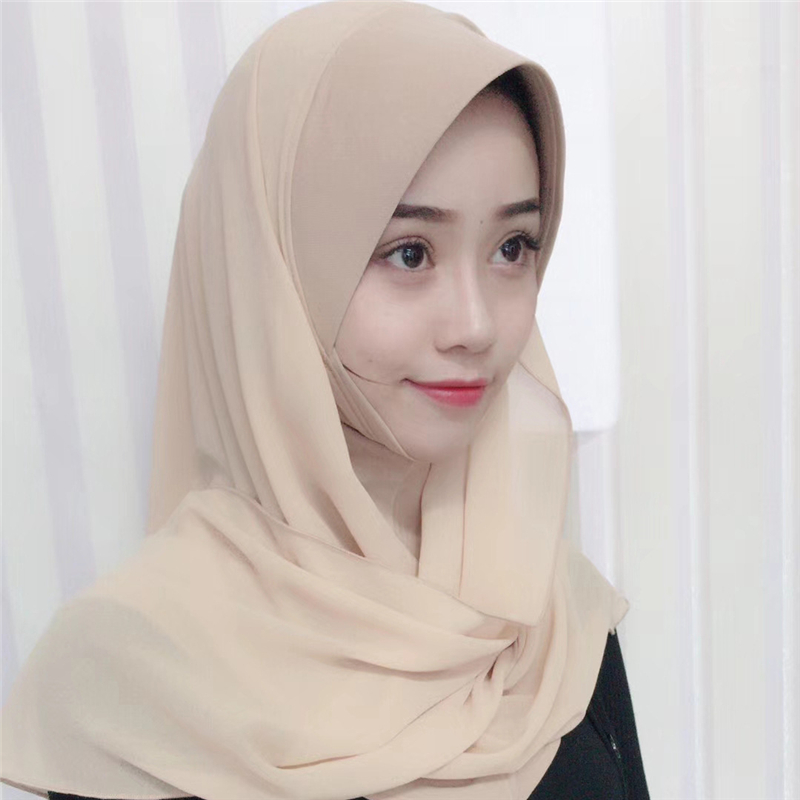 New Muslim Women Shawl Instant Scarf Soft Plain Chiffon Islamic Headscarf Hard Cap Headwrap Ready To Wear Hijab For Ladies
