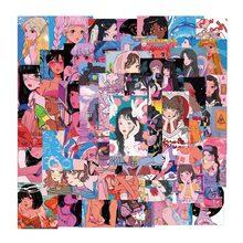 Pegatinas de belleza de corazón para con chicas de Anime, ilustración de bienestar Otaku para teléfono, portátil, funda de equipaje, pegatina de Graffiti, 10/50 Uds.