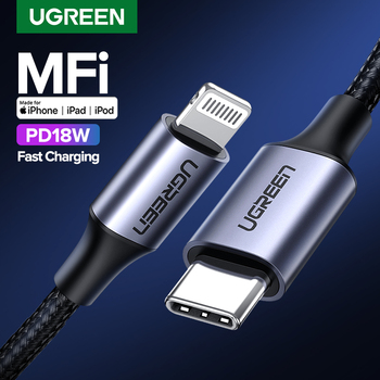 Ugreen MFI usb c to lightning charging cable for iPhone 11 pro max xs xr 8 7 6s plus 5 se ipad fast charger PD18W 8 pin short 2m