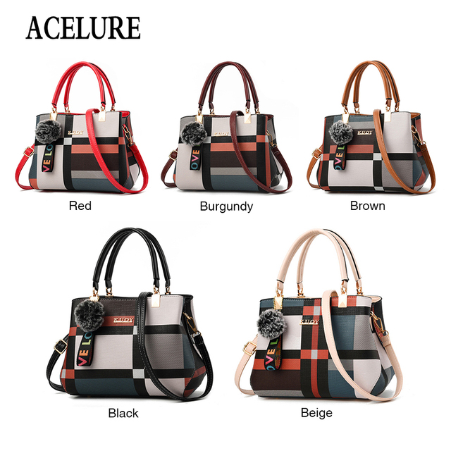 ACELURE New Casual Plaid Shoulder Bag Fashion Stitching Wild Messenger Brand Female Totes Crossbody Bags Women Leather Handbags 3