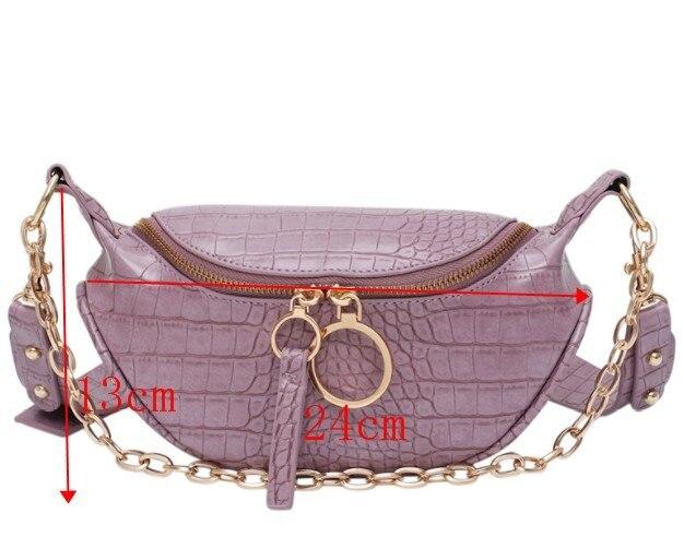 [BXX] Crocodile Pattern PU Leather Bags For Women 2020 Autumn Elegant Handbags Lady Travel Fashion Chain Chest Waist Bag HM311