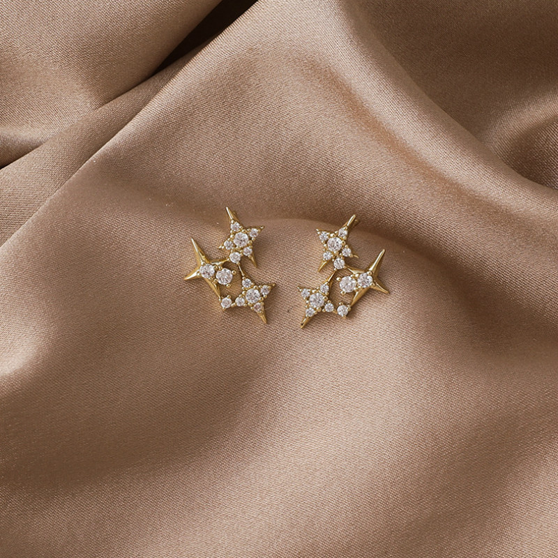 2020 New Arrival Crystal Trendy Shining Zircon Star Earrings For Women Students Elegant Fashion Crystal Jewelry Gifts