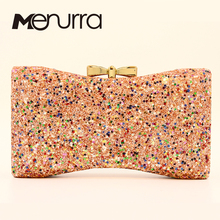 Bow Sequined Evening Bag Bow Clutch Purse For Women Star Shi