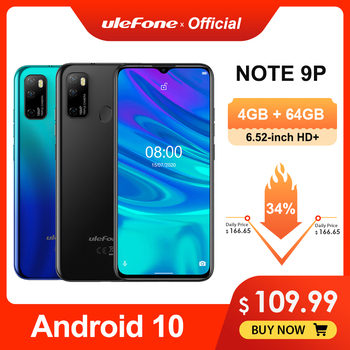 Ulefone Note 9P Smartphone Android 10 4GB+64GB Waterdrop Screen 6.52-inch Mobile phone Octa-core 4G Celular Phone