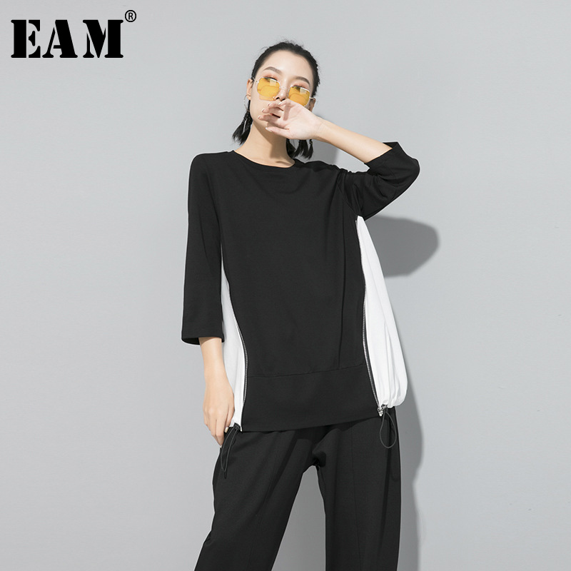 [EAM] Women Zipper Contrast Color Temperament T-shirt New Round Neck Three-quarter Sleeve  Fashion Spring Autumn 2020 1S261