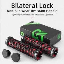 ROCKBROS-empuñaduras de goma para manillar de bicicleta, empuñaduras de goma para manillar de bicicleta de montaña, ultraligeros, amortiguadora de deslizamiento, absorción de impacto