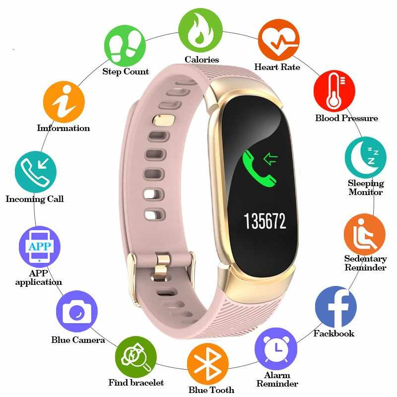 Sport Waterdicht Smart Horloge Vrouwen Smart Armband Band Bluetooth Hartslagmeter Fitness Tracker Smartwatch Siliconen Horloge