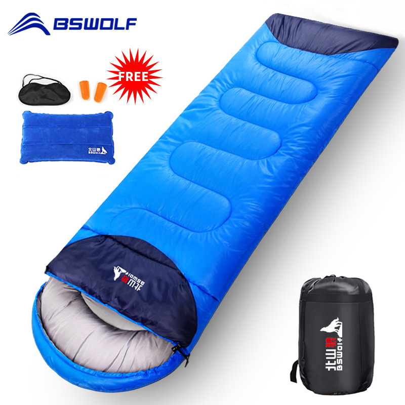 BSWOLF Camping Sleeping Bag Ultralight Waterproof  4 Season Warm Envelope Backpacking Sleeping Bag For Outdoor Traveling Hiking