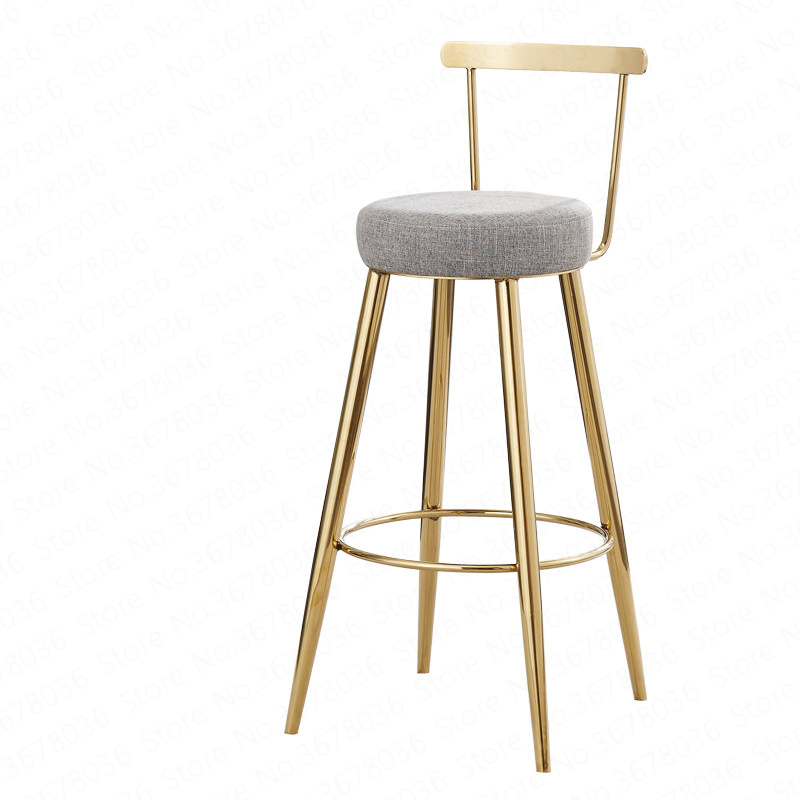 Nordic Bar Stools Golden Chairs Creative Back Bar Stools Home Simple High Stool Fashion Casual Dining Chair 65/75cm
