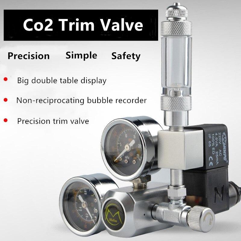 220V Aquarium CO2 Regulator Magnetic Solenoid Kit Check Valve CO2 Control System Reactor Generator Set  Fish Tank Accessories