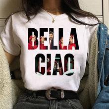 Nova moda feminina tshirt bella ciao t camisa la ca de papel camiseta feminina de manga curta topos camiseta summwe mulher camisetas