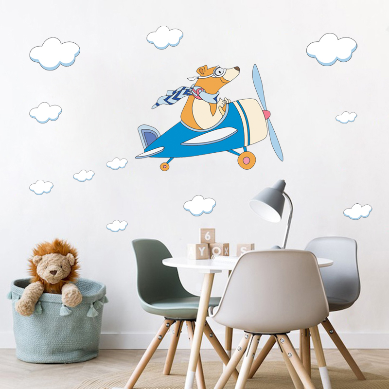 Bear Fliying Airplane Combat Aircraft Glider Wall Stickers Cartoon Cloud Decals For Kids Room Nursery Vinyl Home Art Decoration image