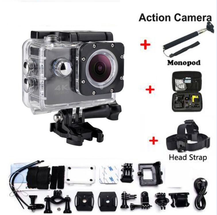 Caméra d'action HD wifi pour go pro hero 4 Sports extrêmes cam vidéo 1080P 30m sports imperméables camrea sangle de tête supplémentaire + sac + monopode
