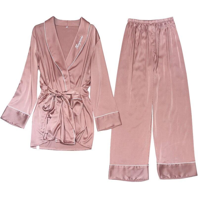 Feier Loose 2 Piece Silk Pajamas Set Women Solid Long Sleeve Autumn Embroid Sleepwear Homewear Leisure Loose Pyjamas Set Women