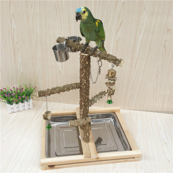 Bird Bite Claw Perches Parrot Wooden Stand Hanging Cage Bird Standing Stick Toys Parrot Playground With Foot Ring Feeder Cups