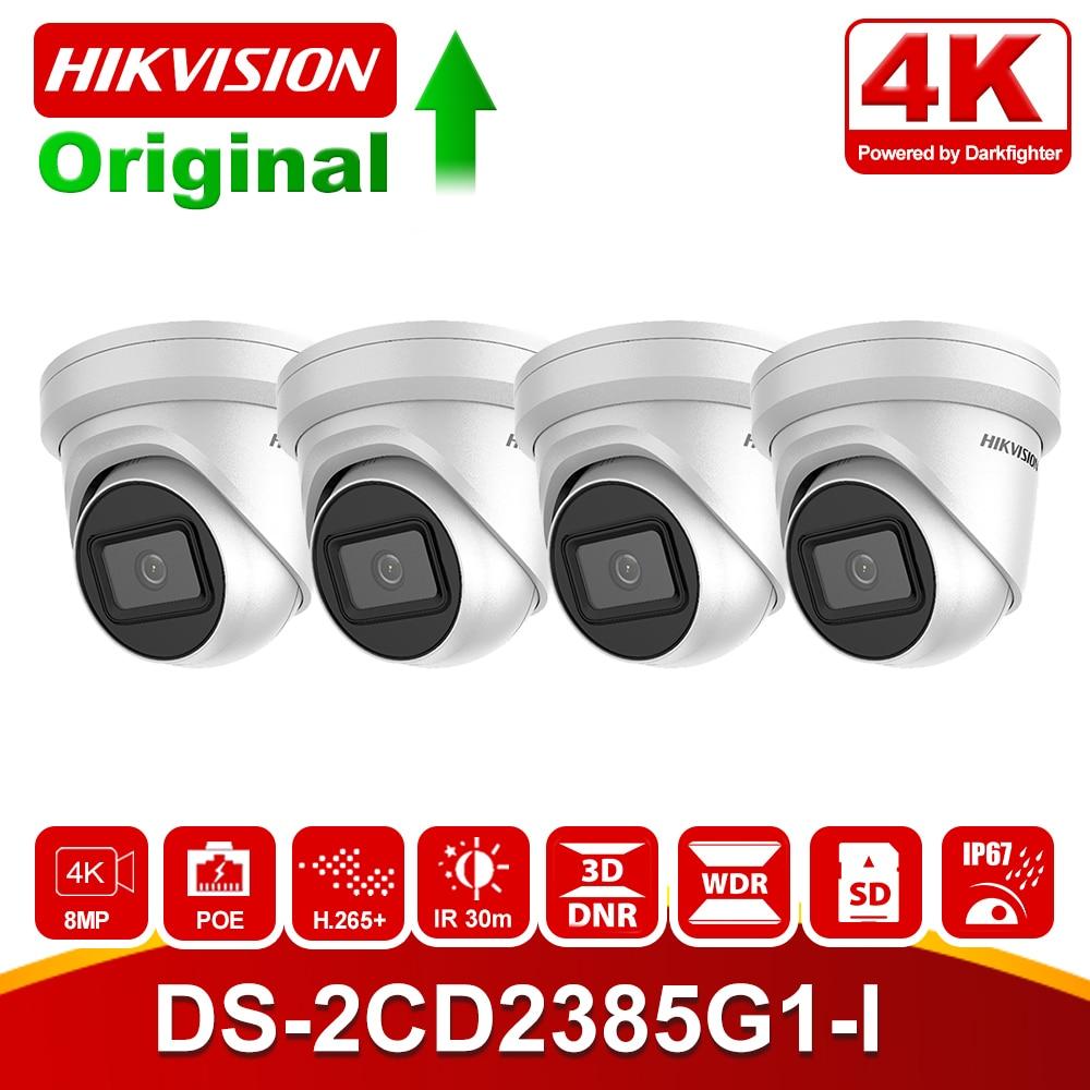 4pcs/lot Original Hikvision 8MP PoE IP Camera DS-2CD2385G1-I Oudoor CCTV 4K IR Network Turret Camera Micro SD Slot H.265+ P2P
