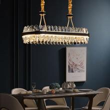 Manggic Modern Led Crystal Chandelier Rectangular Designer Creative Leather Dining Room Lamp