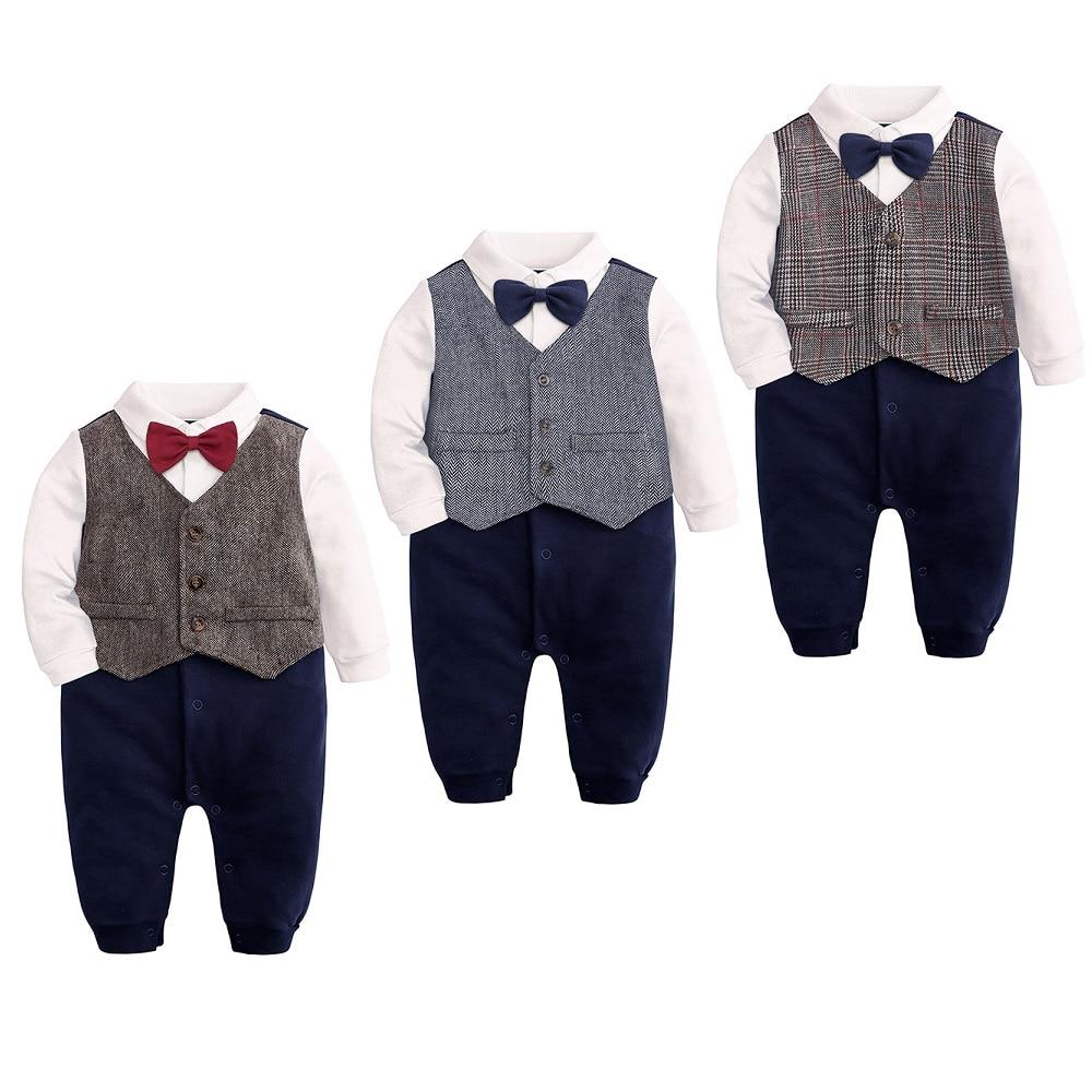 Hooyi Baby Boys Tuxedo College Style Rompers Gentleman Tie Plaid Jumpsuit