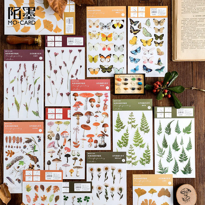 Natural Collection Series Decorative PVC Stickers Scrapbooking Stick Label Diary Stationery Album Retro Plant Butterfly Sticker
