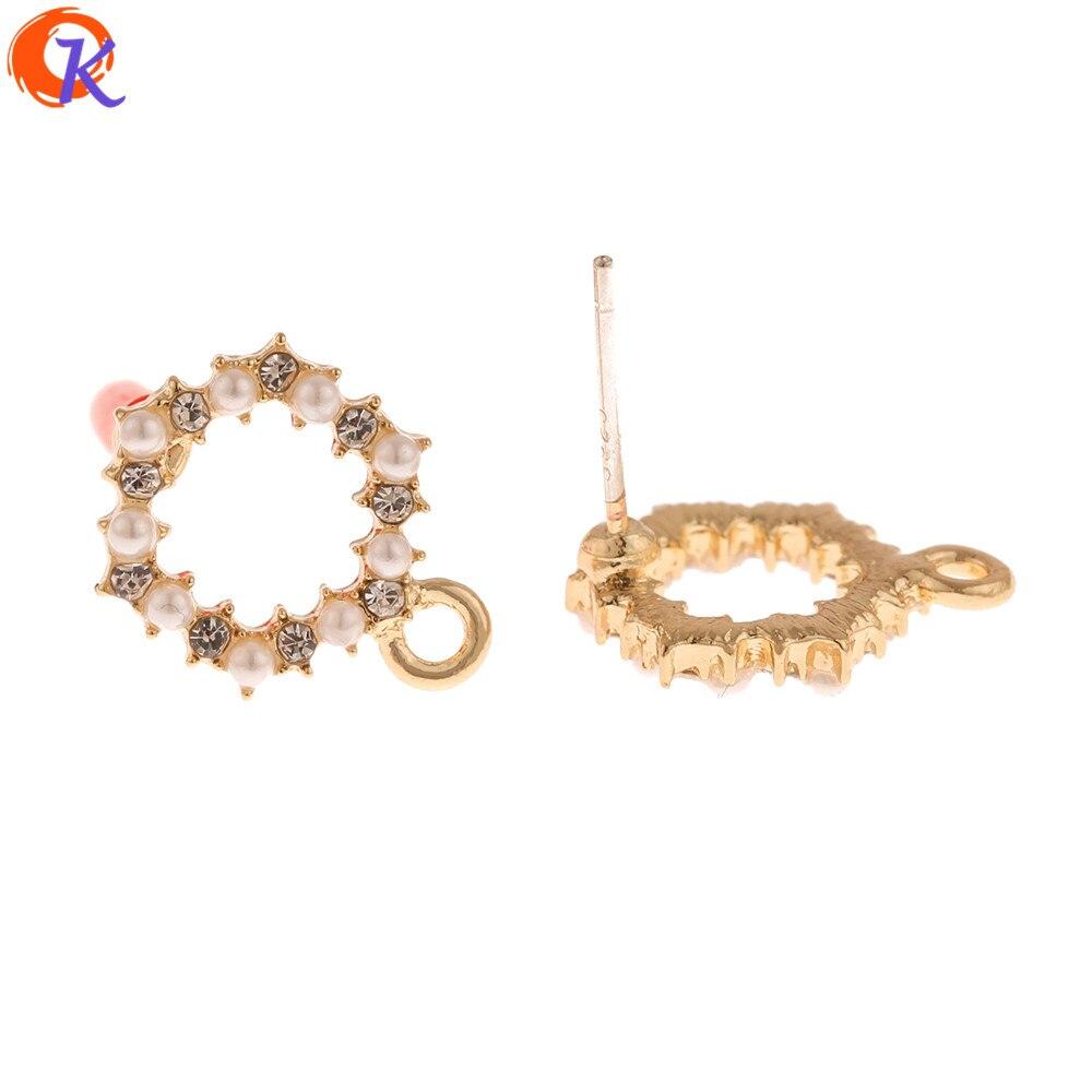 Cordial Design 50Pcs 11*15MM Jewelry Accessories/Earrings Stud/Imitation Pearl/Loop Shape/Hand Made/DIY Making/Earring Findings