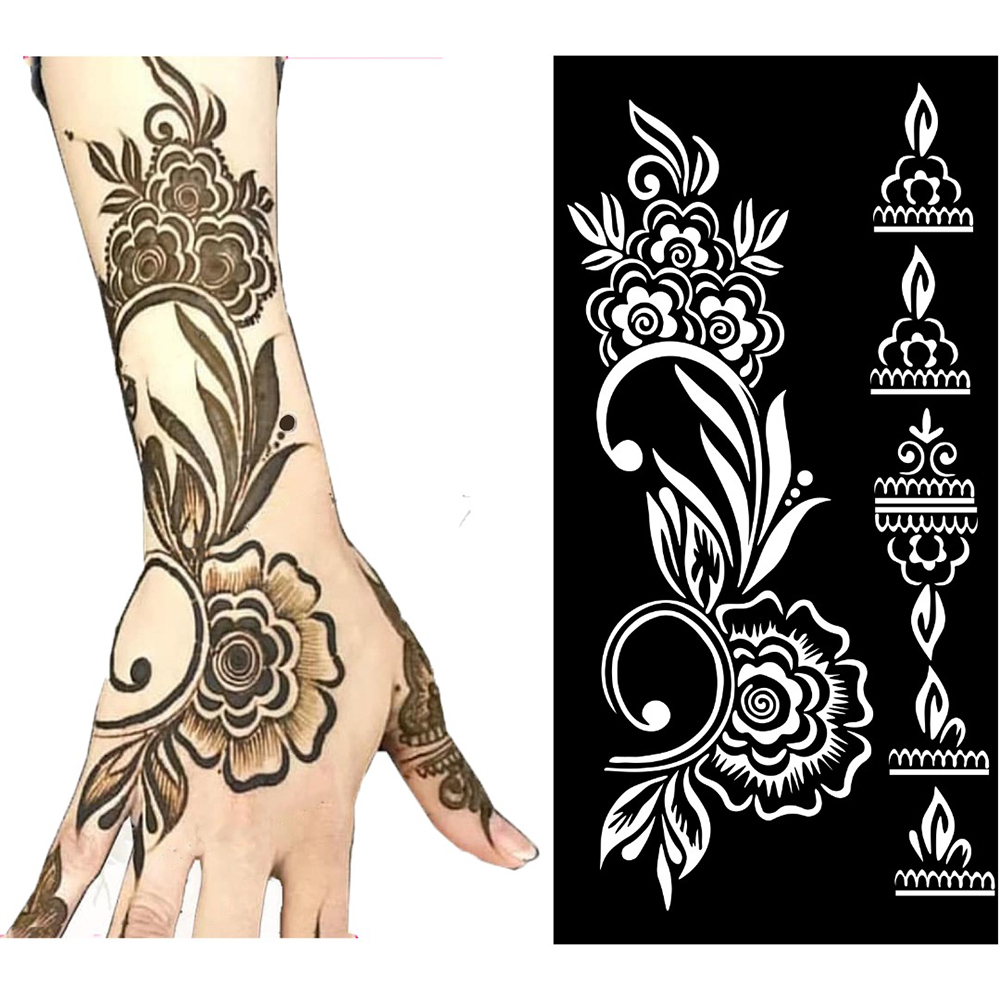 Temporary Tattoo Stencil Henna Hollow Drawing Template Tattoo Fashion Design For Hand Arm Leg Body Art Template Woman Girl Kids