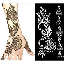 Temporary Tattoo Stencil Henna Hollow Drawing Template Tattoo Fashion Design For Hand Arm Leg Body Art Template Woman Girl Kids