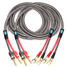 Cable de altavoz de alta fidelidad con conector Banana a pala 2Y para amplificador de cine en casa, Cable de Audio de pala a Banana OFC1M 2M 3M 5M 8M