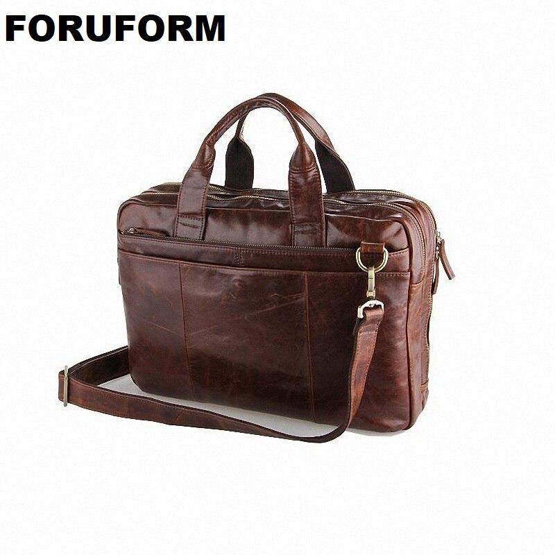 Classic Vintage Genuine Leather Men's Briefcase Laptop Bag High Quality Men Messenger Bag Handbag Business Shoulder Bag LI-826