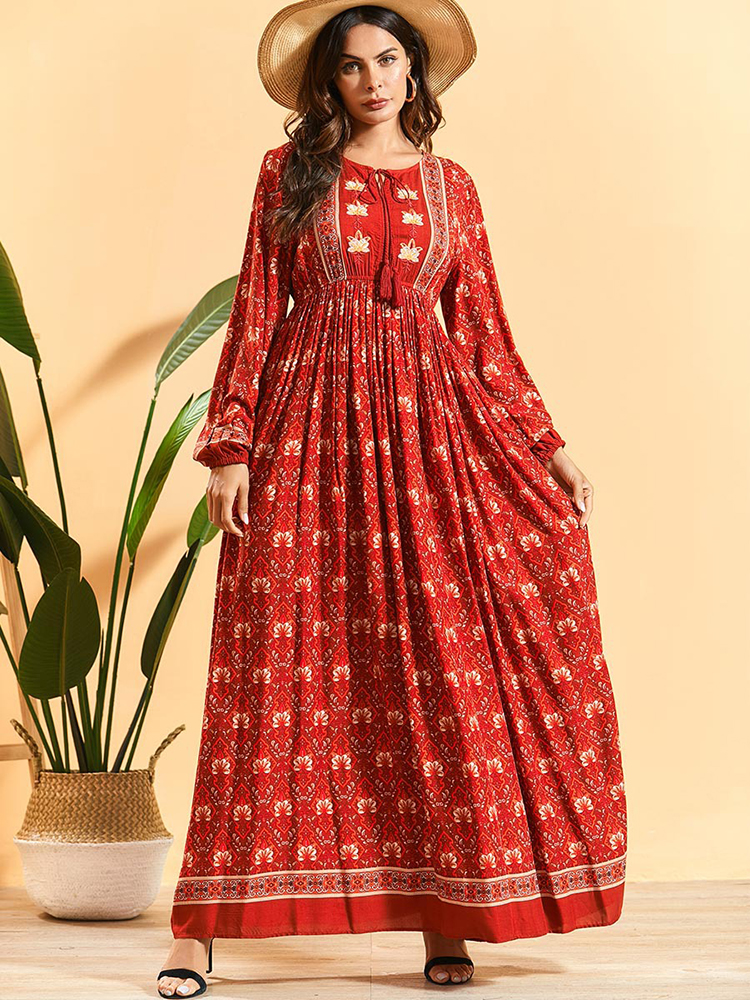 Beautiful Cotton Long Dress With Floral Print