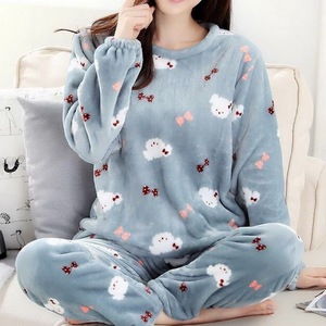 Pajamas women winter flannel long-sleeved thickening plus velvet coral fleece cute autumn and winter home service suit women