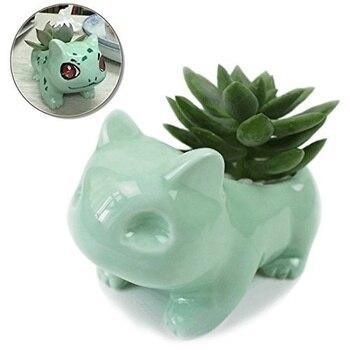 Большой 13 см X 7,5 см Kawaii керамический цветочный горшок Bulbasaur суккулентный горшок милые зеленые растения цветочный горшок с отверстием для др...