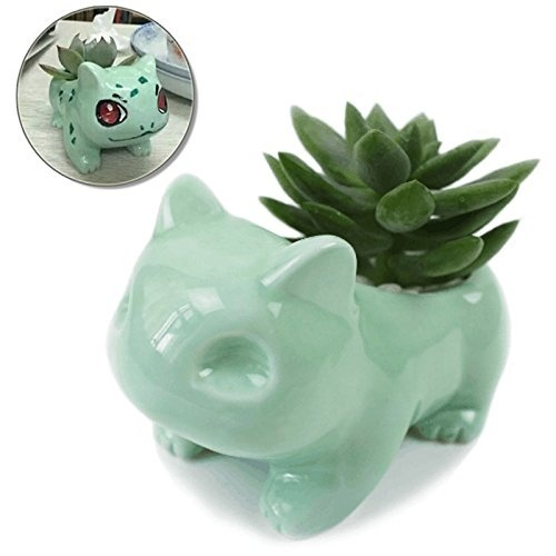 Large 13cm x 7.5cm Kawaii Ceramic Flowerpot Bulbasaur Succulent Planter Cute Green Plants Flower Pot with Hole For Dropshipping