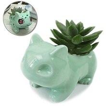 Kawaii Pokemon Ceramic Flowerpot Bulbasaur Planter Cute White / Green Succulent Plants Flower Pot With Hole Free Shipping