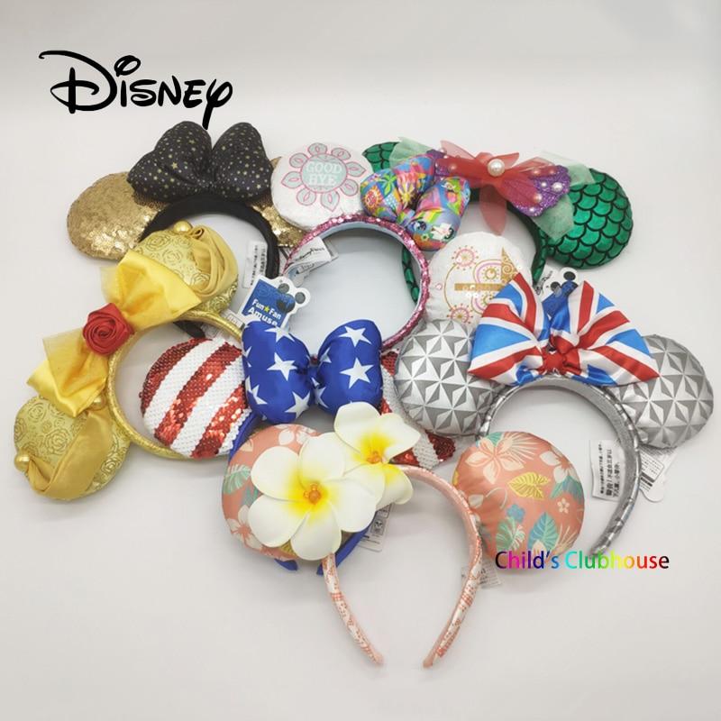Disney A Small World Headband Mickey Ears Cute Cartoon Pattern Girl Toy Headdress Birthday Party Decoration Christmas Gifts