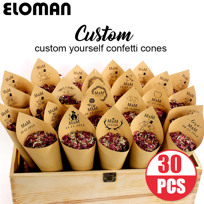 Custom Wedding Confetti Cones ELOMAN Retro Kraft Petal Candy Placing Natural Confetti Cones For Wedding And Party Decoration