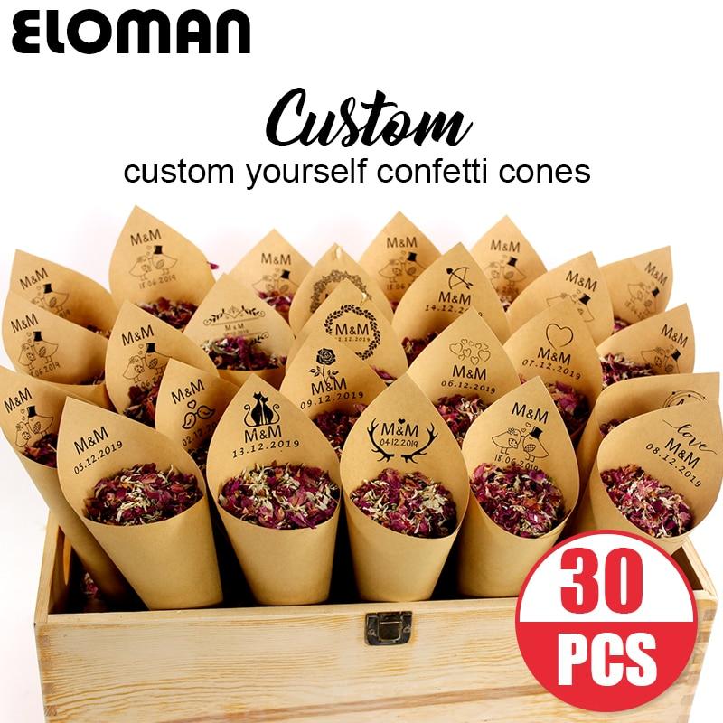 Custom Wedding Confetti Cones ELOMAN Retro Kraft Petal Candy Placing Natural Confetti Cones For Wedding And Party Decoration