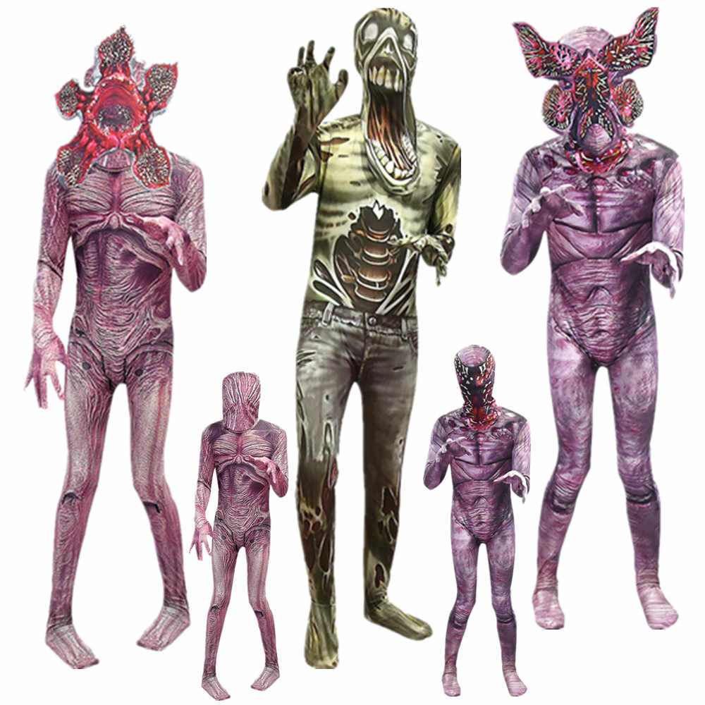 Children Cosplay Ghastly Costume Stranger Things Cos Cannibals Man-eater Flower Scary Demogorgon Halloween Clothes Mask C53442AC
