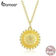 Bamoer güneş sikke kolye kolye kadınlar için altın renk hakiki 925 ayar gümüş zincir kolye Collier moda takı SCN353