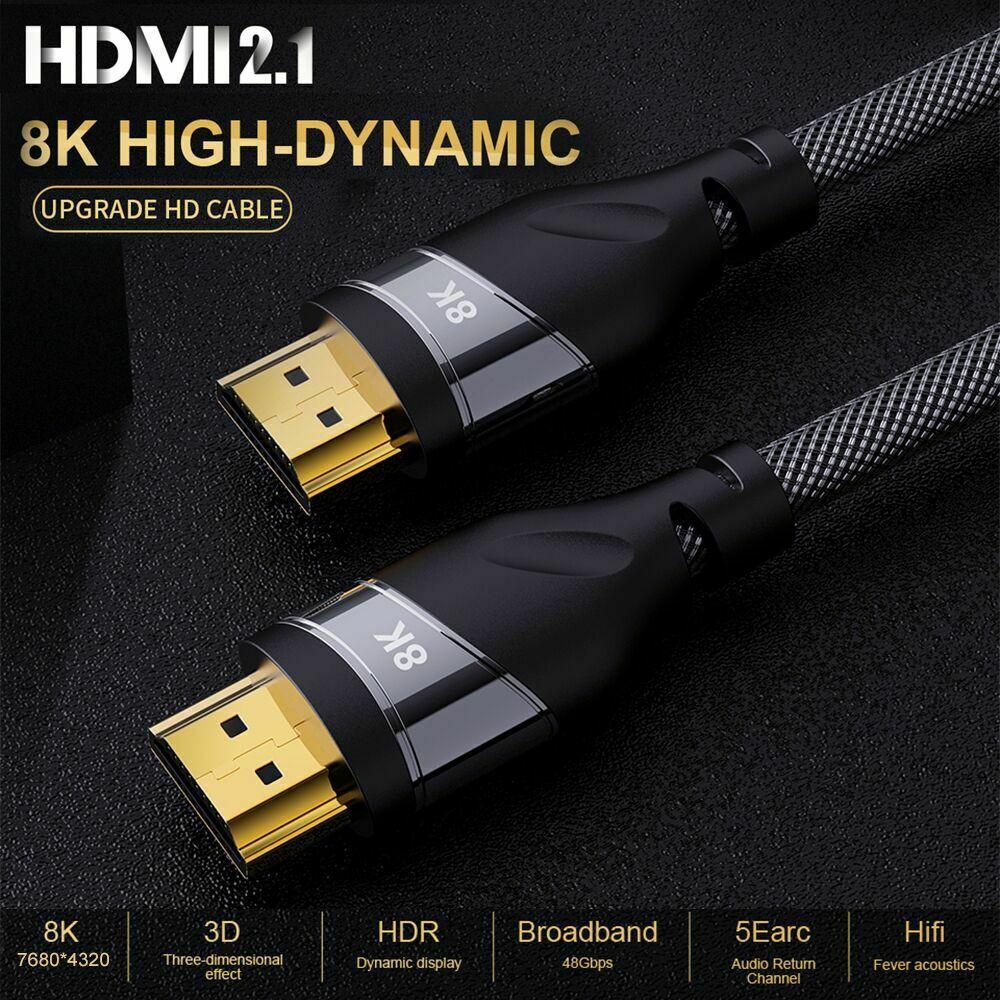 Convertisseur de câble HDMI, 2.1 câble en cuivre 30AWG 4K @ 120 HZ, HDMI 2.1 vitesse, 8K à 60 HZ, UHD HDR, 48 Gbps, pour projecteurs hd PS4