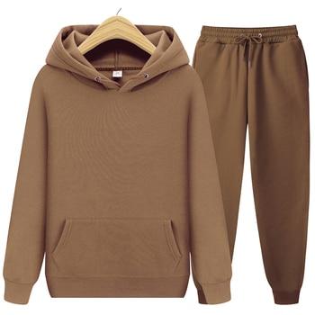 2020 new Men's ladies casual wear suit sportswear suit solid color pullover + pants suit autumn and winter fashion suit 1