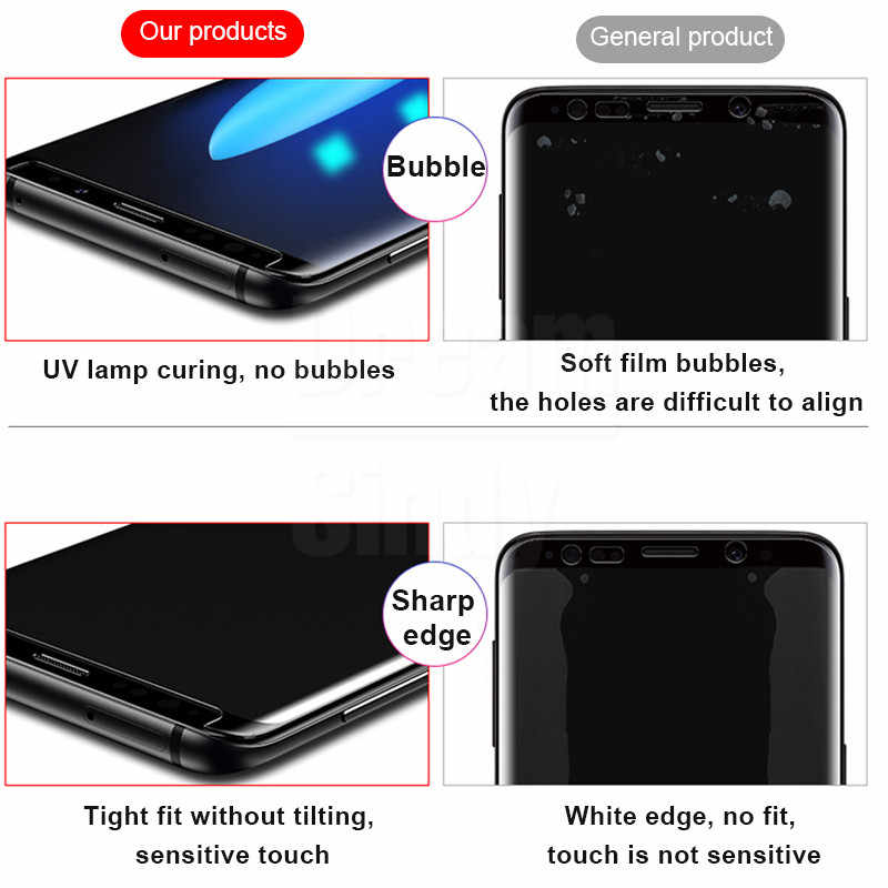 UV מזג זכוכית עבור Samsung Galaxy הערה 20 10 בתוספת S20 Ultra S8 S9 S10 e מלא נוזל מסך כיסוי מגן 9 מגן סרט