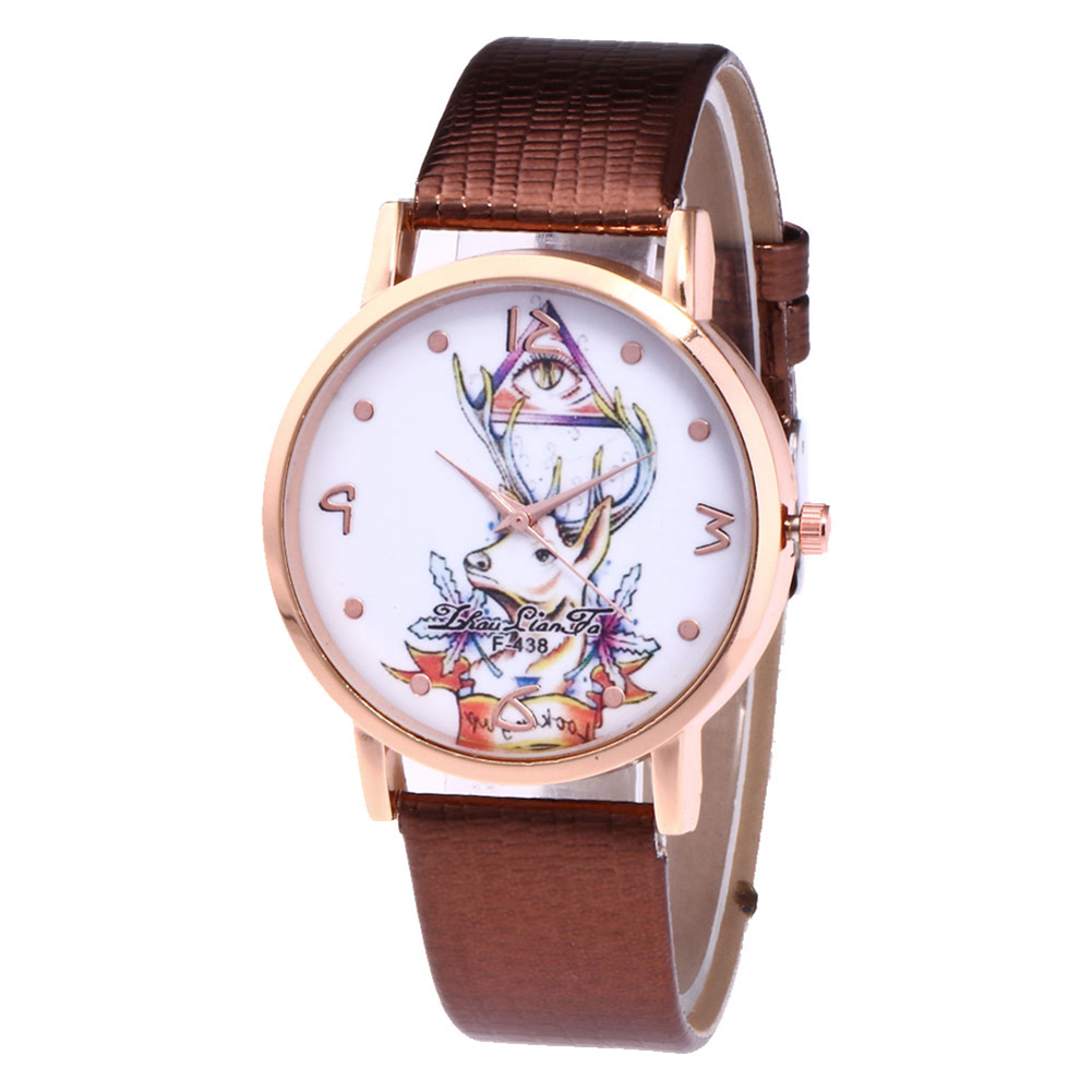 Fashion Elk Printed Watches Men Fashion Leather Strap Round Dial Casual Watches Watch Business Quartz Watch  TS95