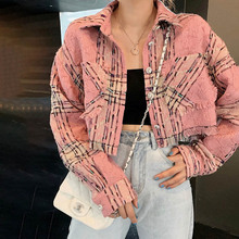 Pink Tweed Cropped Jacket women Autumn Winter Coat Bomber Plaid Streetwear Clothes Oversized Outerwear Pocket Tassel V624