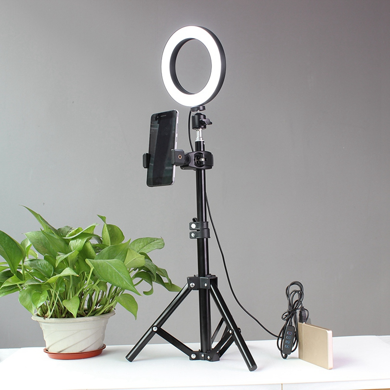 Tripods Selfie Stick with Ring Fill Light Dimmable Ring Led Lamp Studio Camera Ring Light Photo