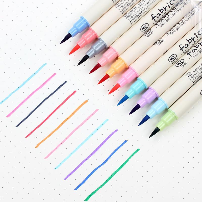 Fineliner-juego de 10 unidades/lote de pinceles suaves, conjunto de rotuladores de colores para arte, lápices DIY, caligrafía, dibujo, escritura, escuela, suministros de papelería