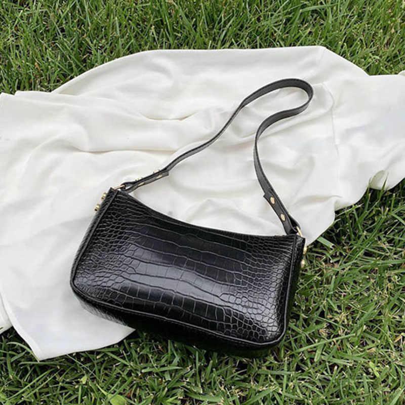 Retro Pola Buaya Baguette Tas Wanita Fashion PU Kulit Ketiak Bag Bahasa Perancis Bahu Tas Mewah Tas Tangan Desain Lady Dompet