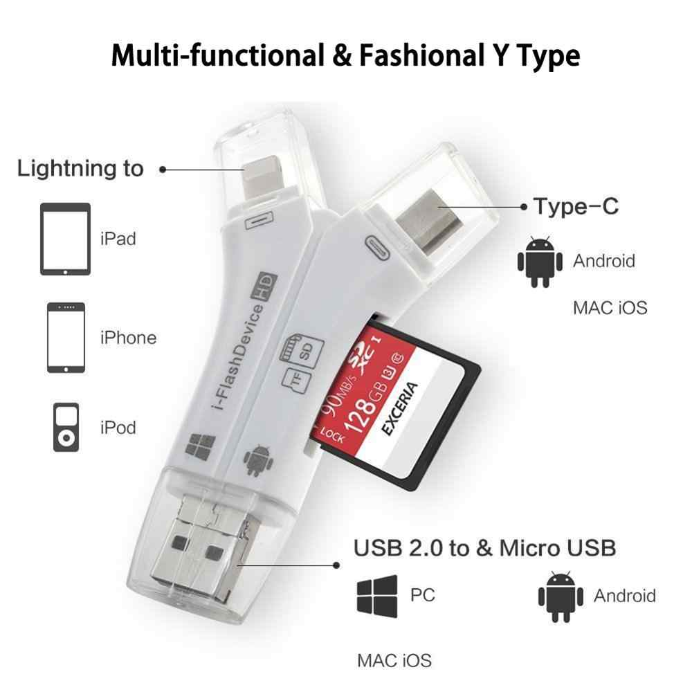 Leitor de cartões 4 em 1 i flash drive usb micro sd & tf, adaptador de cartão de memória para iphone pro 5 6 7 8 para ipad macbook android câmera