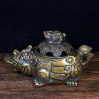 """8""""Tibet Temple Incense Burner with Pure Copper Lucky Pigeon Golden Toad Statue Jin Chankou's coins implying wealth and wealth"""