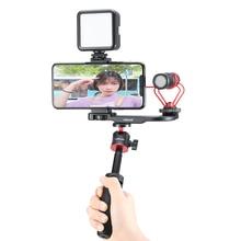 Ulanzi PT 8 PT 9 Smartphone Vlog plaque de montage pour Gopro DSLR caméra Sony A6300 A6400 chaussure froide Vlog montage pour Microphone LED