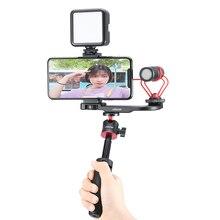 Ulanzi PT 8 PT 9 smartphone vlog placa de montagem para gopro dslr câmera sony a6300 a6400 sapata fria vlog montagem para microfone led